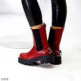 Высокие модные бордовые марсала женские ботинки челси с эластичными вставками по бокам, фото 9