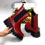 Высокие модные бордовые марсала женские ботинки челси с эластичными вставками по бокам, фото 10