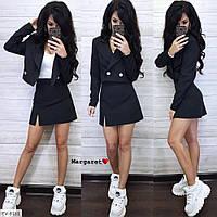 Стильний костюм жіночий модний коротка міні спідниця-трапеція і короткий піджак р-ри S, M арт. 8163, фото 1