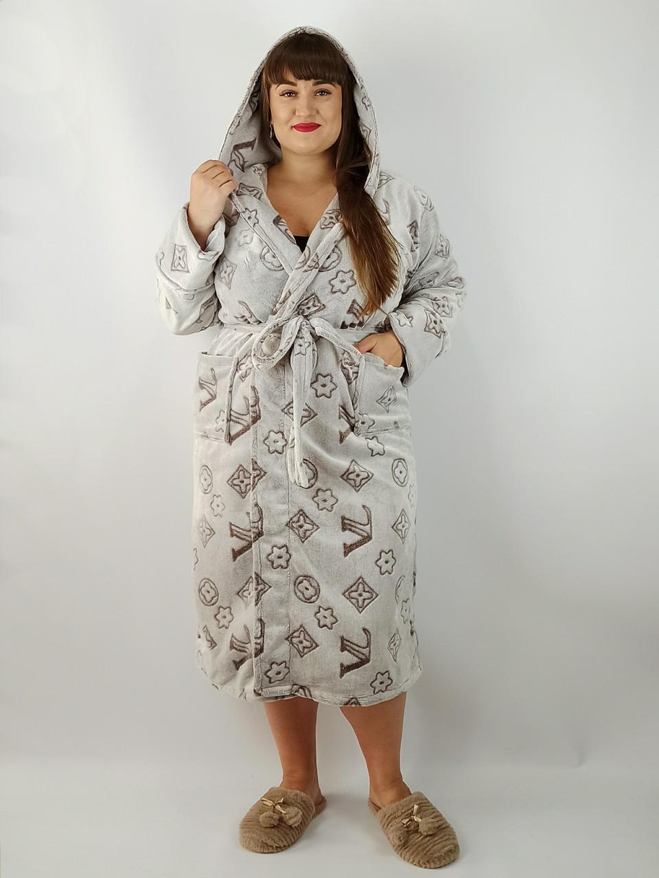 Халат жіночий махровий великі розміри від 58 до 66