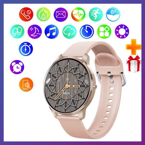 Смарт часы Фитнес браслет трэккер Smart Watch LW29 пульсометром тонометром Full-touch Screen розовые + Подарок