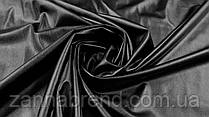 Ткань экокожа на меху черного цвета