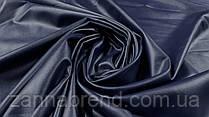Ткань экокожа на меху темно-синего цвета