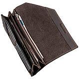 Кожаный клатч унисекс на магните GRANDE PELLE 11215 Коричневый, фото 4