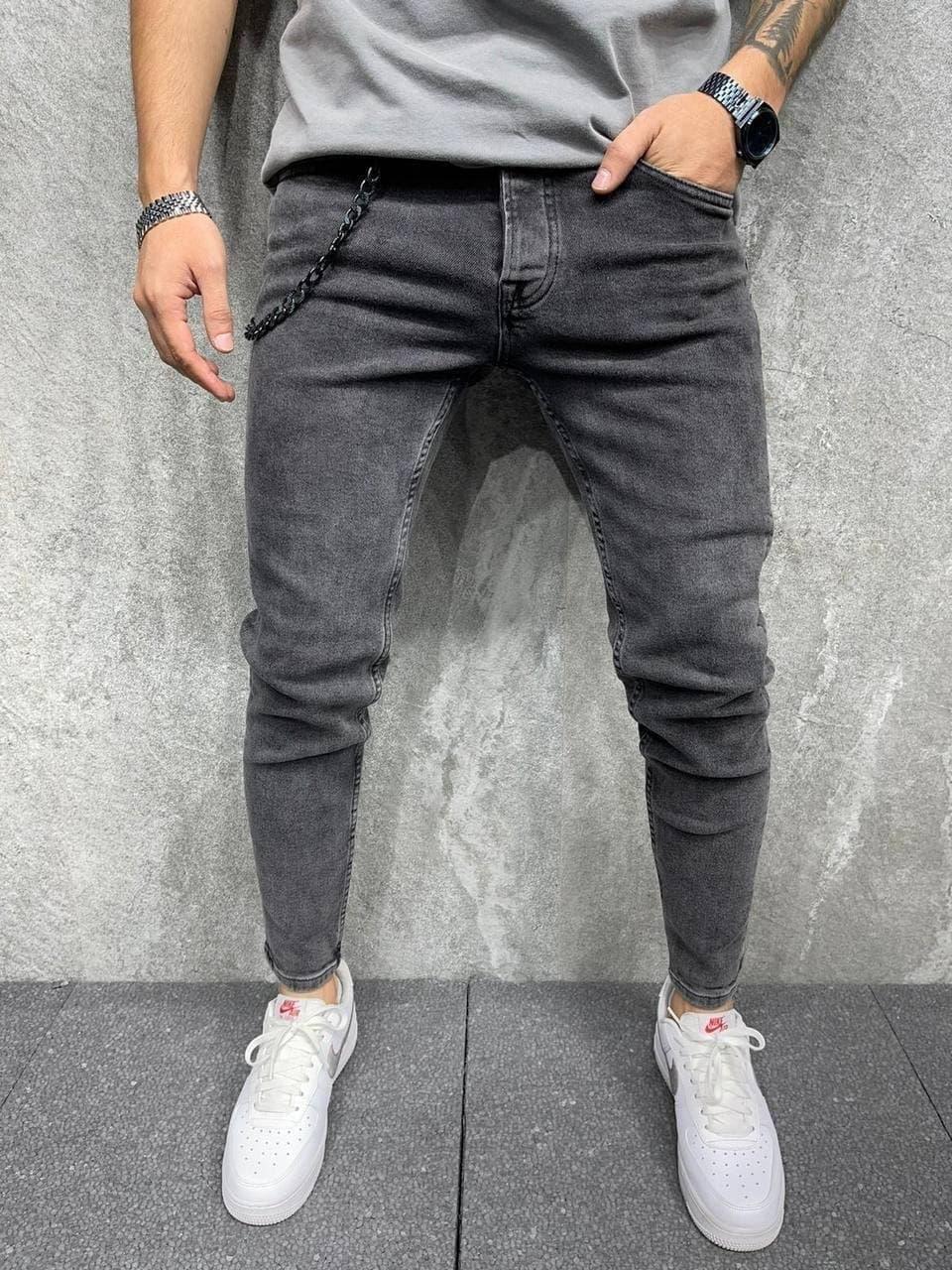 Джинси чоловічі стильні сірого кольору. Штани джинсові чоловічі сірі.