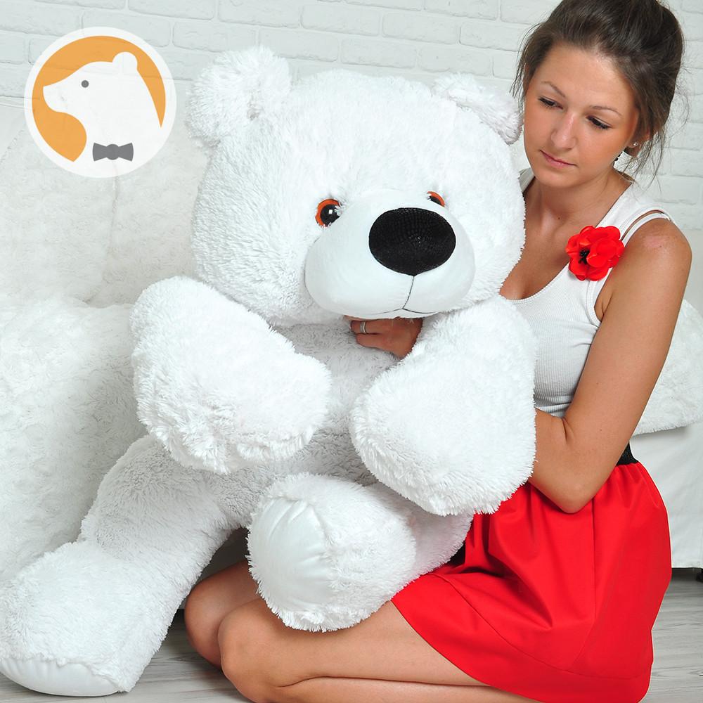 Мягкая игрушка плюшевый мишка Умка лежащий большой белый медведь 110 см