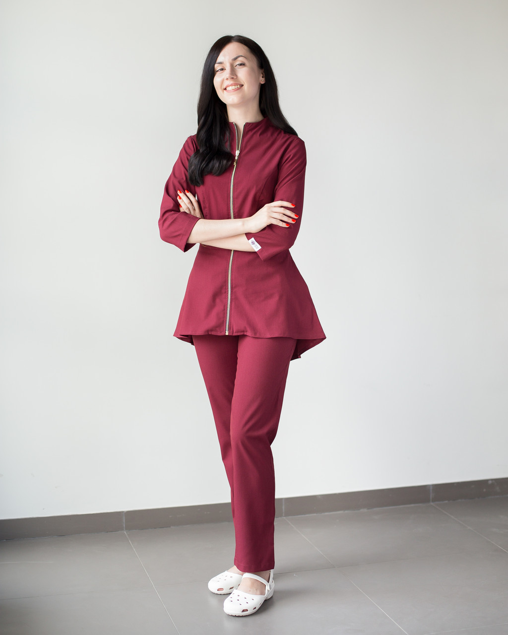 Медицинский женский костюм Мишель (марсала)