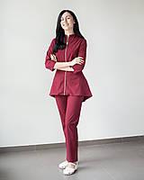 Медицинский женский костюм Мишель (марсала), фото 1
