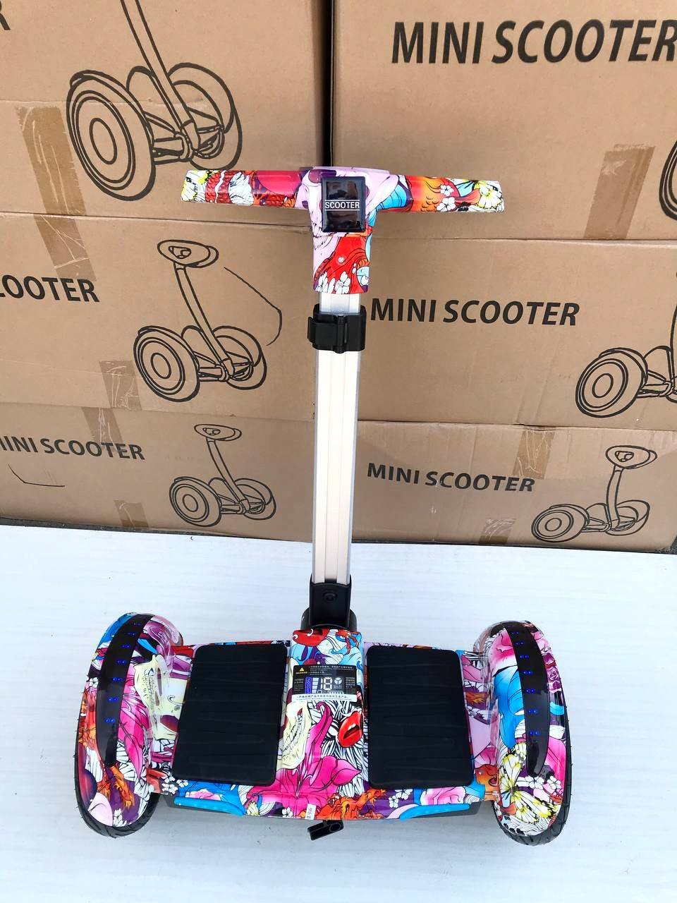 МИНИ СИГВЕЙ (гироскутер, гироборд) с РУЧКОЙ Smart Balance Wheel Розовый А8 10,5