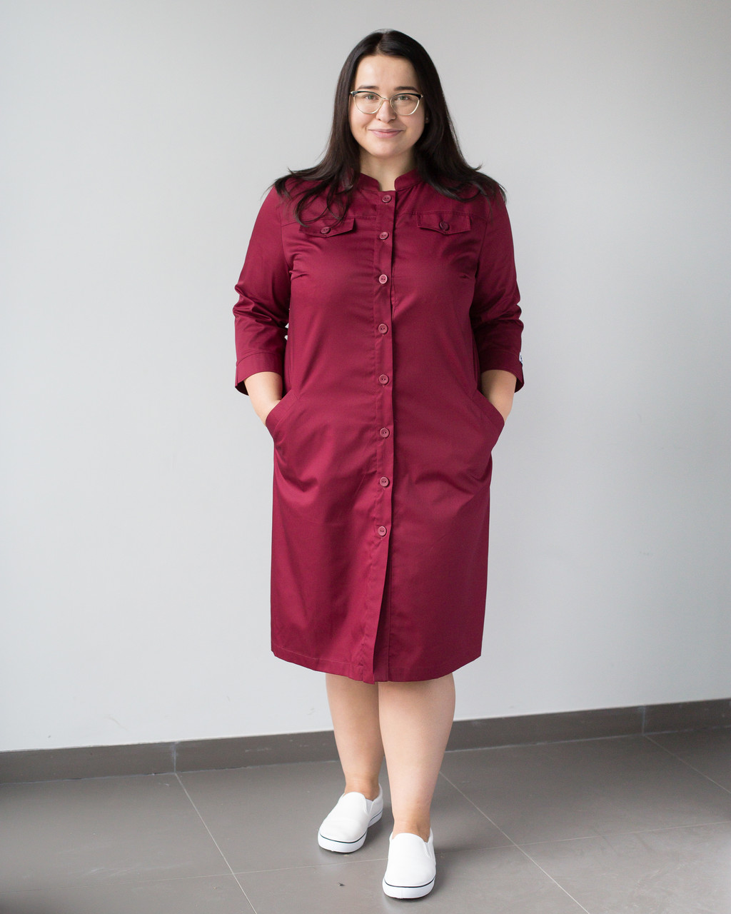 Медичний жіночий халат Валері марсала +SIZE