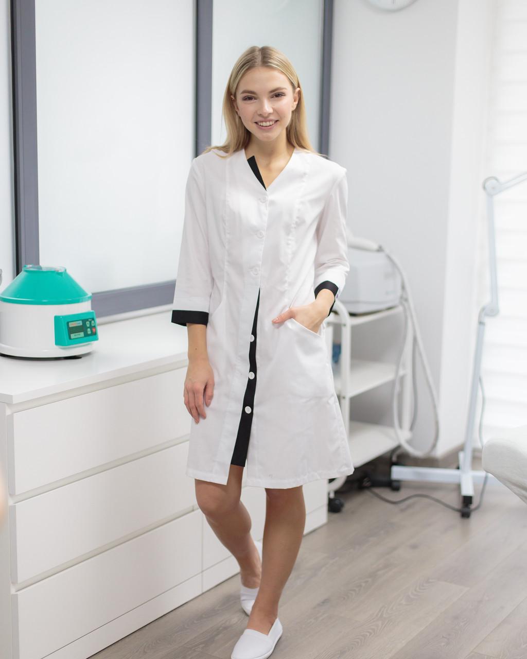 Медицинский халат Оливия белый-черный на пуговицах