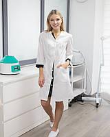 Медичний халат Олівія білий-чорний на гудзиках, фото 1