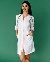 Медичний халат Олівія білий-рожевий на гудзиках, фото 1