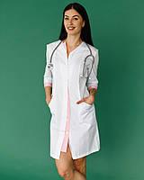 Медицинский халат Оливия белый-розовый на пуговицах, фото 1