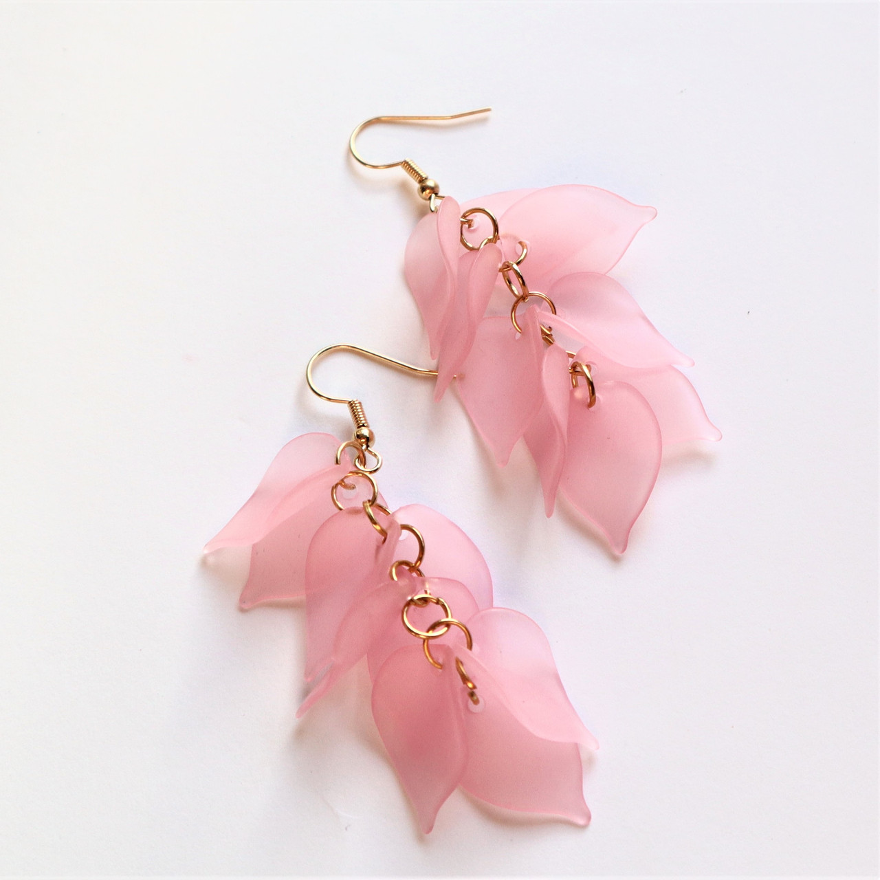 """Сережки  """"Гілочка сакури"""", світло рожевий"""