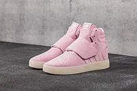 Женские высокие замшевые кроссовки Adidas Tubular Invader Strap Pink (Адидас Тубулар розового цвета)