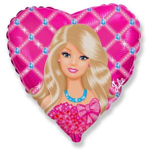 """Фольгированный шар сердце Барби 18"""" Flexmetal"""