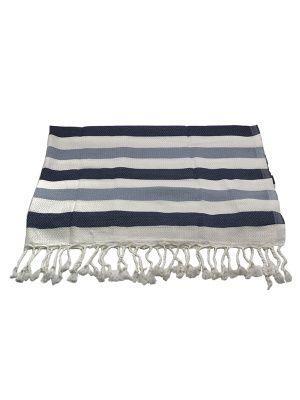 Банное полотенце пештемаль Wave (бамбук 100%) / серый + голубой