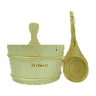 Набір Greus сосна (шайка 4 л + черпак) з пластиковою вставкою для лазні та сауни, фото 2