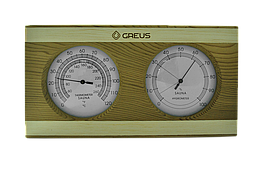 Термогигрометр Greus кедр/сосна 26х14