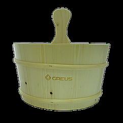 Шайка Greus сосна 4 л з пластиковою вставкою для лазні та сауни