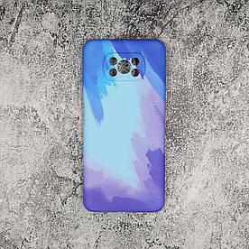 Чохол накладка для Xiaomi Poco X3 силіконовий, Paint case, Блакитний