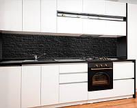 Кухонні панель чорний цегла, цегляна стіна, груба кладка на самоклеючій плівці або ПВХ панель Самоклейка 65 х