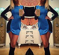 Платье двухцветное закруглено внизу