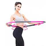 Обруч хулахуп складной массажный на 8 секций для фитнеса Hoola Hoop серо-розовый, фото 8