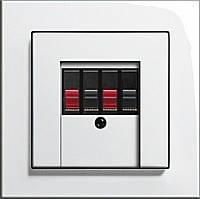 Розетка аудио двухканальная High-Fi Gira E2 белый/глянцевый белый
