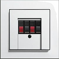 Розетка аудио двухканальная High-Fi Gira E2 белый/глянцевый белый, фото 2