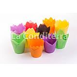 Паперові форми Тюльпан помаранчеві, формочки для випічки кексів (100 шт., d=60 мм, висота бортика=55/82 мм), фото 3