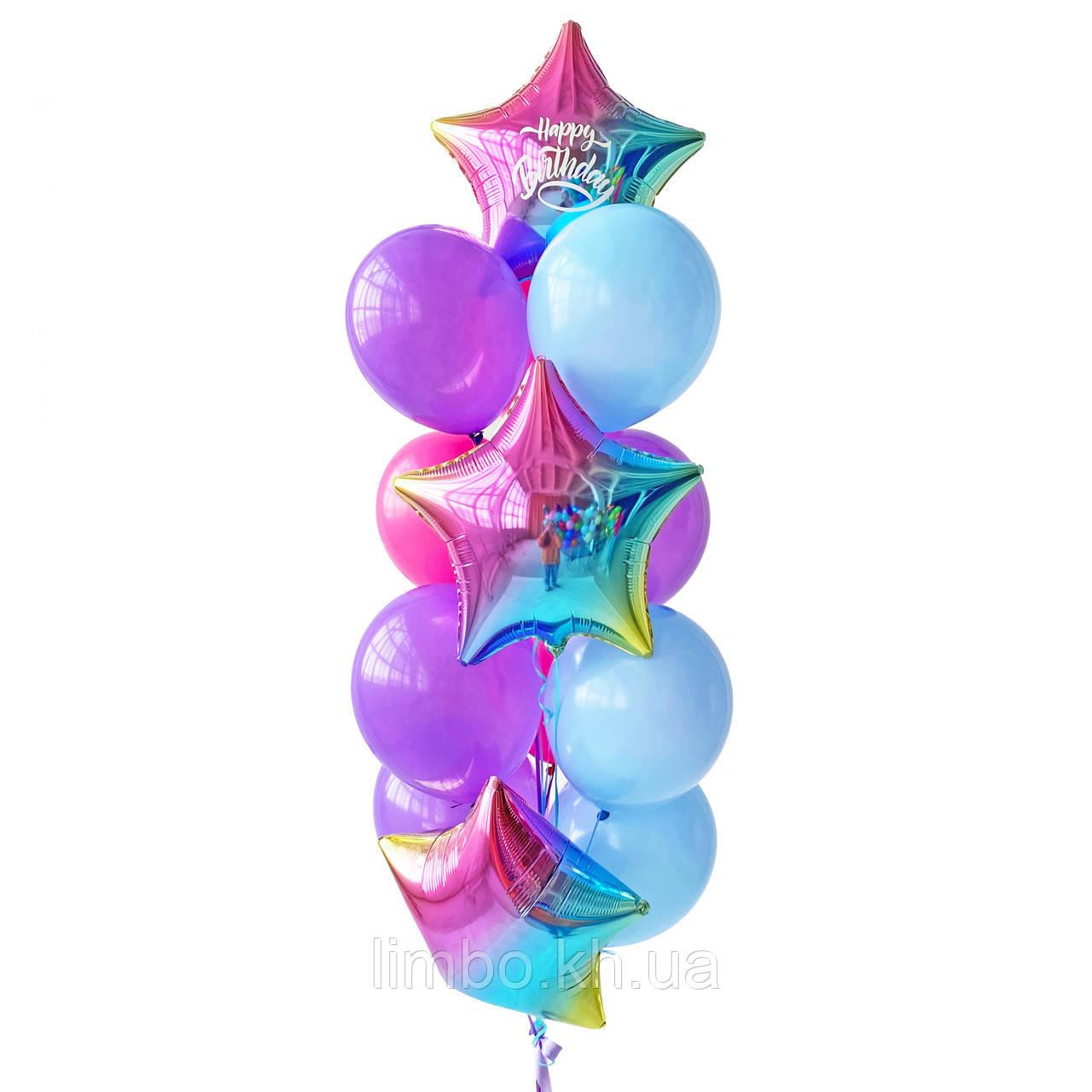 Кулі на день народження в рожево м'ятному кольорі з кулями браш