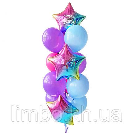 Кулі на день народження в рожево м'ятному кольорі з кулями браш, фото 2