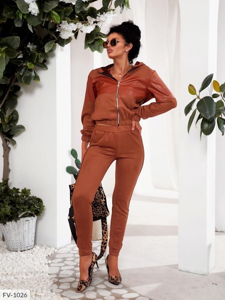 Прогулянковий замшевий брючний костюм, кофта на блискавці з капюшоном та штани жіночі р-ри 42-48 арт.618