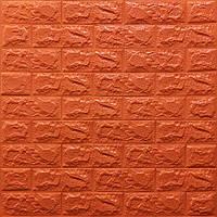 Декоративная 3Д-панель стеновая Оранжевый кирпич (самоклеющиеся 3d панели для стен оригинал) 700x770x7 мм