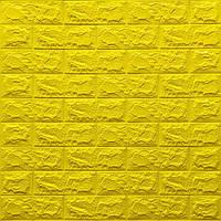 Декоративная 3Д-панель стеновая Желтый Кирпич (самоклеющиеся 3d панели для стен оригинал) 700x770x7 мм