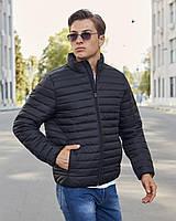 Весенняя куртка стеганная мужская черная бренд ТУР модель Дукалис размер S, M, L, XL