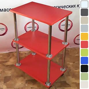 Косметологическая тележка этажерка мастера косметолога на колесиках для салона красоты Красный