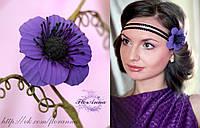 """""""Фиолетовый анемон"""" заколка цветок ручной работы"""