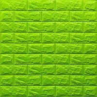 Декоративна 3Д-панель стінова Зелений Цегла (самоклеючі 3d панелі для стін оригінал) 700x770x7 мм, фото 1
