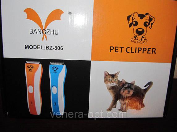Аккумуляторная машинка триммер для стрижки животных собак и кошек Professional Pet Clipper BZ-806, фото 2