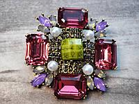 Брошь массивная винтажная с кристаллами №1, фото 1