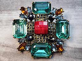 Брошка масивна вінтажна з кристалами №2
