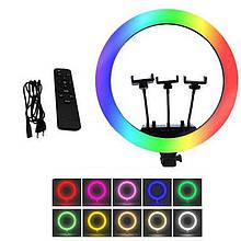 Светодиодная кольцевая лампа для селфи 36 см / Светодиодная лампа RGB с пультом