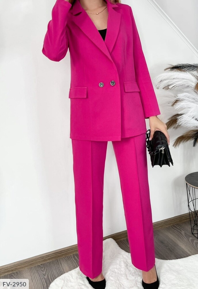 Діловий брючний костюм жіночий класичний з подовженим піджаком на гудзиках р-ри 44-46 арт.171