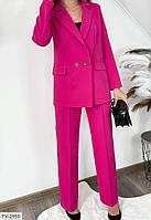 Діловий брючний костюм жіночий класичний з подовженим піджаком на гудзиках р-ри 44-46 арт.171, фото 1