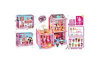 Домик для девочек. Со спальней ванной и кухней. 89 деталей С 6 куколками питомцем цветами и мебелью. ВВ 010