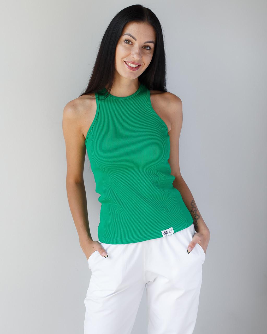 Медична майка в рубчик жіноча зелена