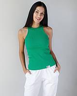 Медична майка в рубчик жіноча зелена, фото 1